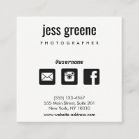 Professional Black and White Social Media Icons Square Business Card