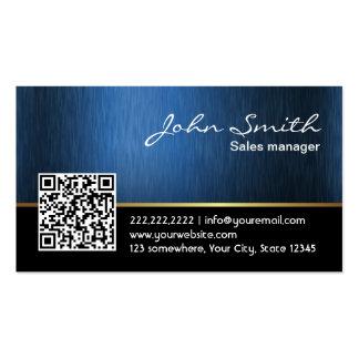 Professional Black & Blue QR Code Business Card