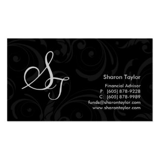 Professional Black Gray Business Card Swirls
