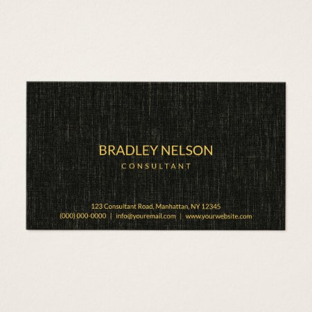 Simple Minimalistic Black Linen Texture Custom Accountant Business Cards Template