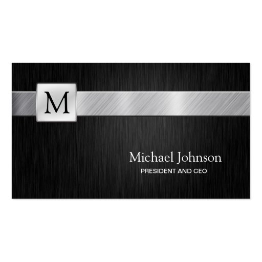 Professional Black & Silver Modern Business Card