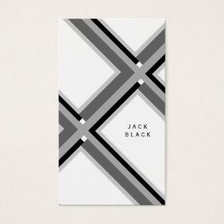Professional Black white elegant geometric lines   Business Card