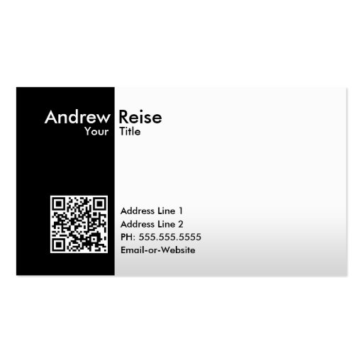 professional black/white QR code Business Card Template