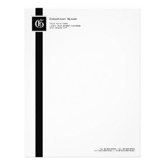 Professional Black & White Stripe Monogram Letterhead