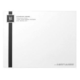 Professional Black & White Stripe Monogram Notepad