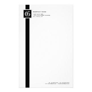 Professional Black & White Stripe Monogram Stationery Paper