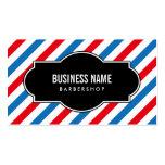 Professional Blue & Red Stripes Barber Shop Business Card