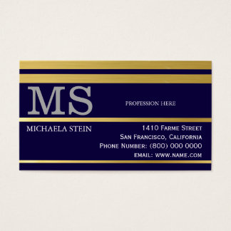 professional blue striped business card