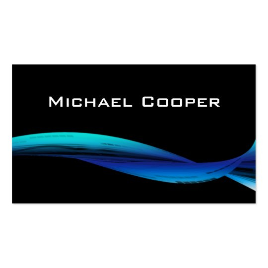 Professional Blue Wave Business Card Black
