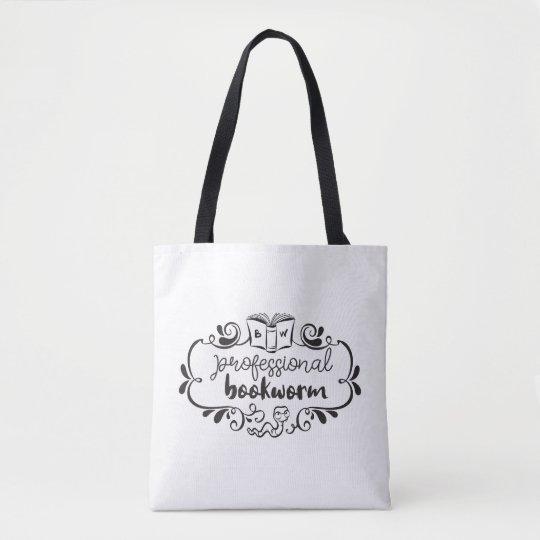Professional Bookworm White Tote Bag  b55042a25927d
