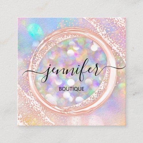 Professional Boutique Shop Beauty Glam Holograph Square Business Card