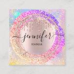"Professional Boutique Shop Glitter Pink Holograph Square Business Card<br><div class=""desc"">florenceKdesign</div>"