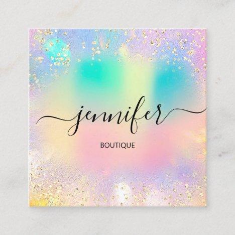 Professional Boutique Shop Gold Glitter Holograph Square Business Card