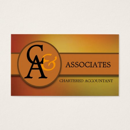 Orange and Gold Professional Accountant Business Card Template