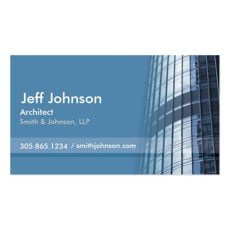 Modern Building Blue Architect Business Card Template