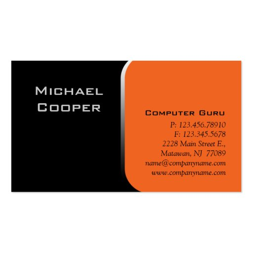 Professional business card computer orange zazzle for Zazzle business card