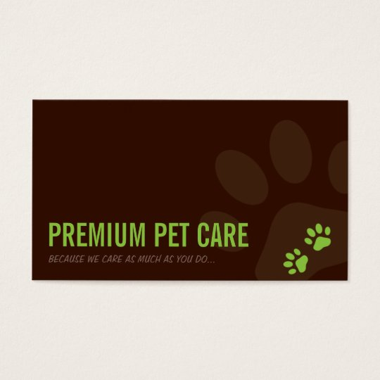 PROFESSIONAL BUSINESS CARD pet care lime green