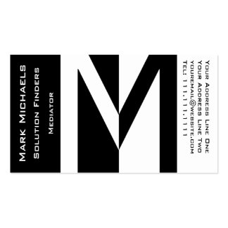 Professional Business M Monogram Black and White Business Card Templates