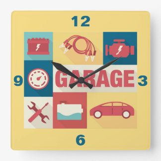 Professional Car Repairman Iconic Designed Square Wall Clock
