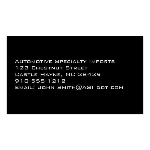Professional Carbon Fiber Car Business Cards (back side)