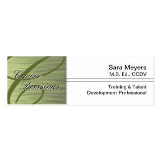 Professional Career Business Card - Monogram Green