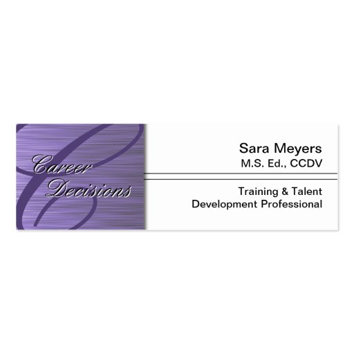 Professional Career Business Card Monogram Purple