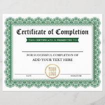 Professional Certificate of Completion Your Logo G