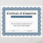 """Professional Certificate of Completion - Your Text<br><div class=""""desc"""">Professional,  Customizable,  Certificate of Completion. Great for classes,  training courses,  schools,  business courses and more. Personalize with your custom text.</div>"""