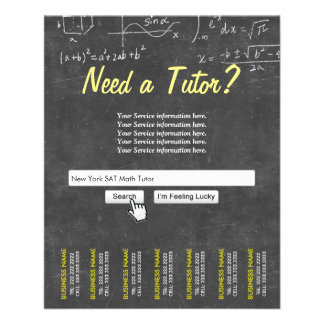 Professional Chalkboard Search Bar Math Tutor Flyer