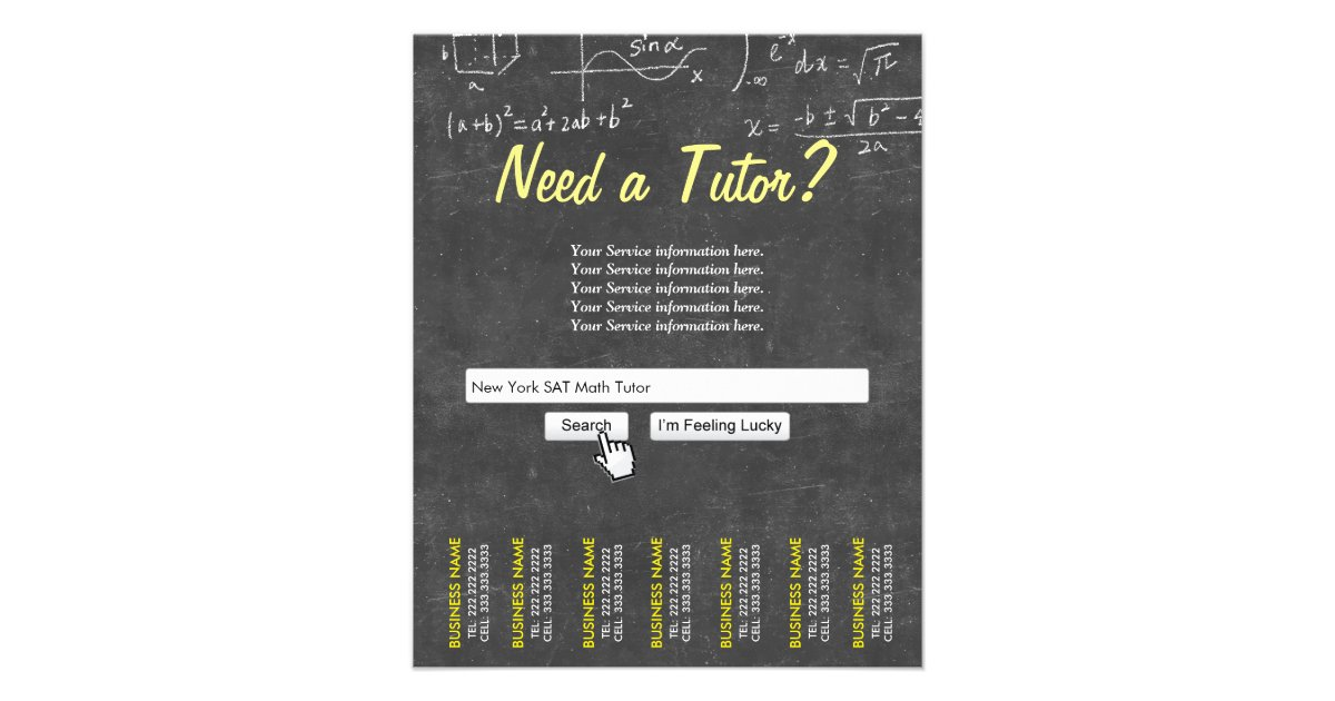 Professional Chalkboard Search Bar Math Tutor Flyer  Zazzle