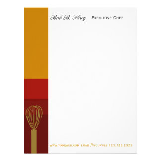 Professional Chef Catering Cook REcipes Letterhead