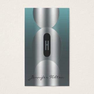 Professional chic modern silvery ellipse monogram business card