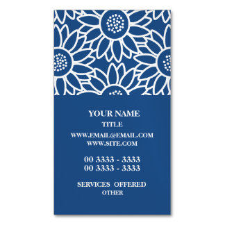 Professional Classic Blue Sunflower Pattern Business Card Magnet