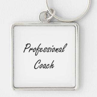 Professional Coach Artistic Job Design Silver-Colored Square Keychain