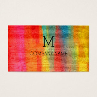 Professional Colorful Modern Wood Monogram #11 Business Card