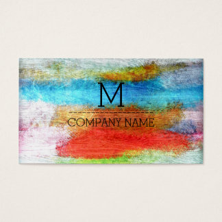 Professional Colorful Modern Wood Monogram #23 Business Card