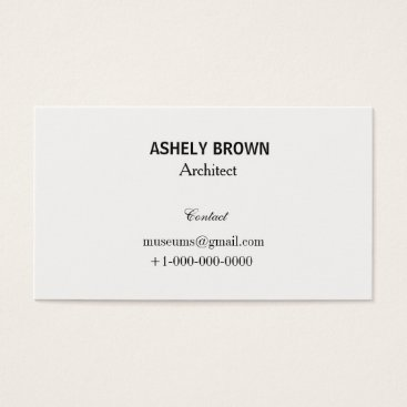 Professional Business Professional Cream White Business Card