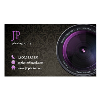 Professional Damask Photographer Camera Lens Double-Sided Standard Business Cards (Pack Of 100)