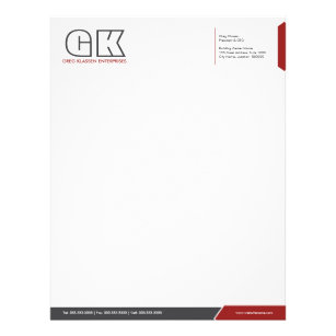 professional dark gray red template letterhead