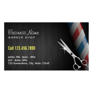 Professional Dark Wood Silver Scissor Barber Double-Sided Standard Business Cards (Pack Of 100)