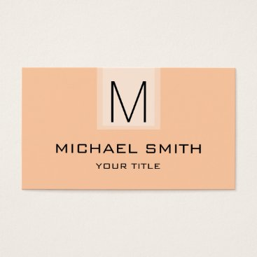 Professional Business Professional Deep peach Solid Color Monogram Business Card
