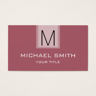 Professional Deep puce Solid Color Monogram Business Card