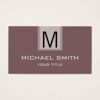 Professional Deep Taupe Solid Color Monogram Business Card