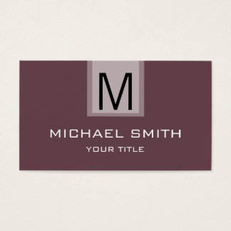 Professional Deep Tuscan red Solid Color Monogram Business Card