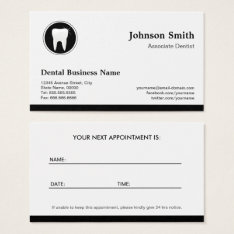 Professional Dentist - Dental Care Appointment Business Card at Zazzle