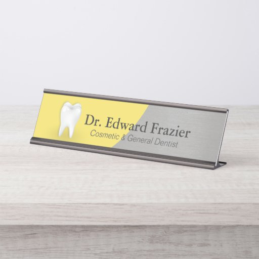 Professional Dentist Dental Care Yellow Gray Tooth Desk Name Plate