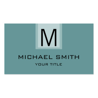 Professional Desaturated cyan Solid Color Monogram Business Card