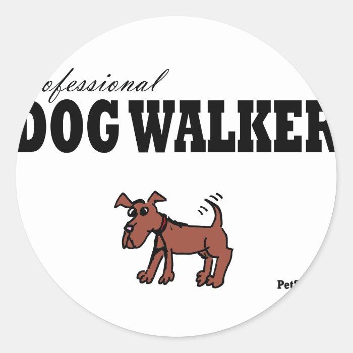 Professional Dog Walker Classic Round Sticker