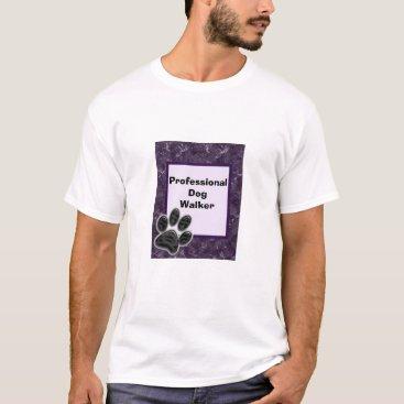 Professional Dog Walker Rich Purple Paw Print T-Shirt