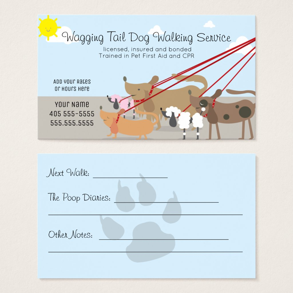 Professional Dog Walking Service Business Business Card